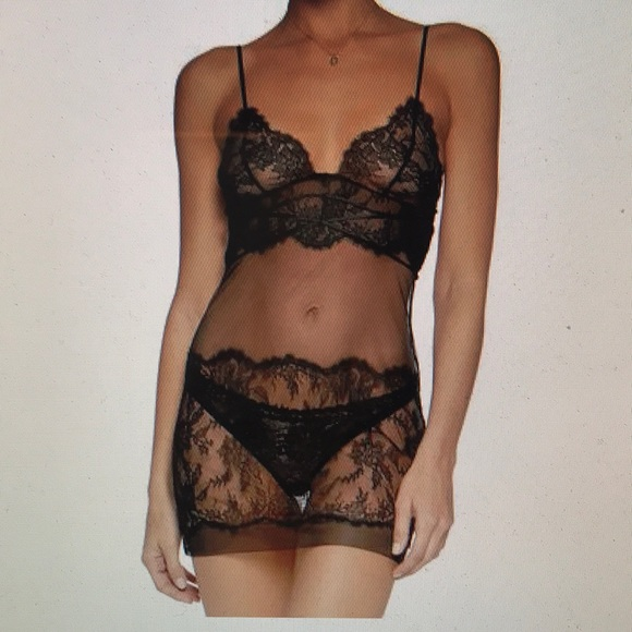 NWT La Perla Sophia Chemise Black Lace Size Small 569b87c3b